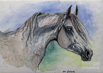 The Grey Arabian Horse 14 Poster by Angel  Tarantella