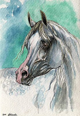 The Grey Arabian Horse 3 Poster by Angel  Tarantella