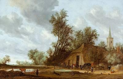 The Halt At The Inn Poster by Salomon van Ruysdael