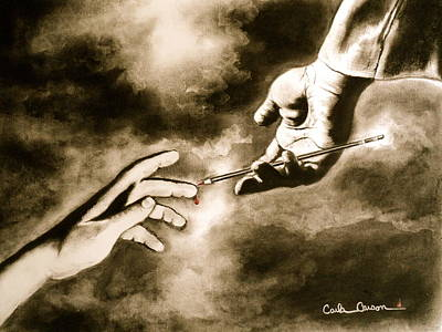 Poster featuring the drawing The Hand Of God by Carla Carson