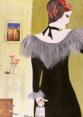 The Handbag, 2004 Acrylic With Collage On Paper Poster by Susan Adams