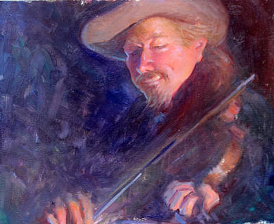 The Happy Fiddler Poster by Ernest Principato