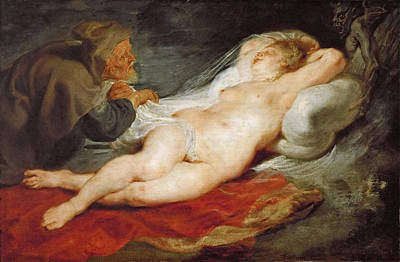 The Hermit And The Sleeping Angelica Poster by Peter Paul Rubens