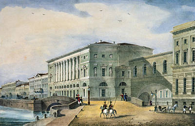 The Hermitage Theatre As Seen From The Vassily Island, 1822 Colour Litho Poster by Russian School