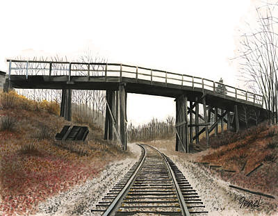 Poster featuring the painting The High Bridge by Ferrel Cordle