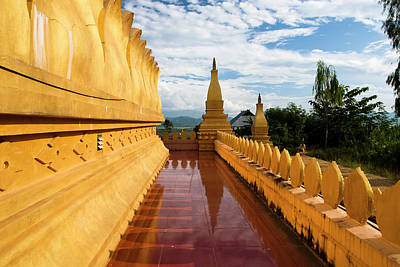 The Hilltop Stupa Temple Above Luang Poster by Micah Wright