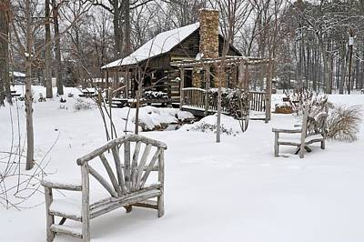 The Historic Gosnell Log Cabin After A Snowfall  Mauldin Sc Poster