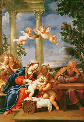 The Holy Family With St. Elizabeth And St. John The Baptist, C.1645-50 Oil On Copper Poster by Francesco Albani