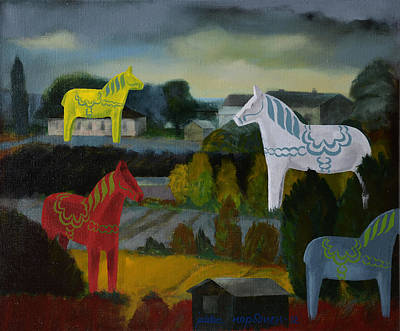 The Horses Of The Village Poster by Jukka Nopsanen
