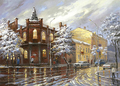 Poster featuring the painting The House 44 Or Silver Night by Dmitry Spiros