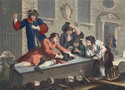 The Idle Prentice At Play In The Church Poster by William Hogarth