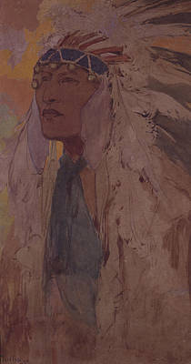 The Indian, 1904 Wc On Paper Poster by Alphonse Marie Mucha