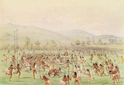 The Indian Ball Game, C.1832 Colour Litho Poster by George Catlin