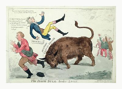 The Irish Bull Broke Loose, Cruikshank, Isaac Poster by English School