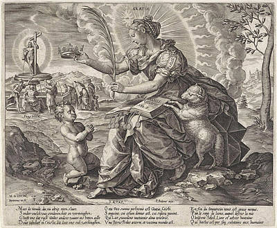 The Iron Age The Law Of The Grace Of The New Testament Poster by Hieronymus Wierix And Pieter Balten