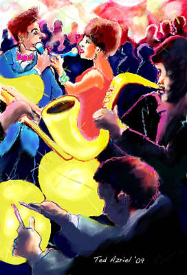 Poster featuring the digital art The Jazz Singers by Ted Azriel