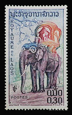 Poster featuring the photograph The King's Elephant Vintage Postage Stamp Print by Andy Prendy