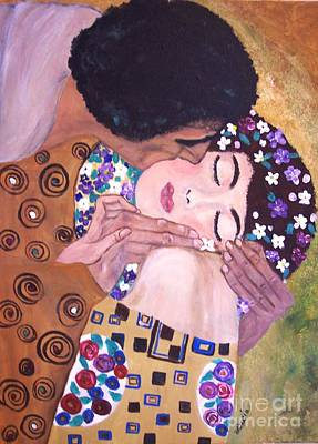 Poster featuring the painting The Kiss   by Lucia Grilletto
