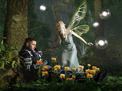 The Knight And The Faerie Poster by Daniel Eskridge