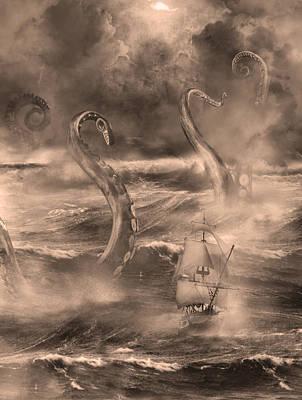 The Kraken Unleashed Poster by Renato Nogueira Saltori