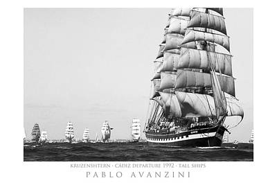 Poster featuring the photograph The Kruzenshtern Departing The Port Of Cadiz by Pablo Avanzini