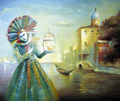 Poster featuring the painting The Lady With The Cage by Dmitry Spiros