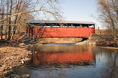 Poster featuring the photograph The Lairdsville Covered Bridge After The Flood by Gene Walls