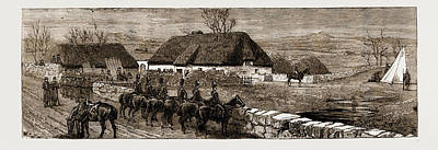 The Land Agitation In Ireland Erecting A Police Hut At New Poster