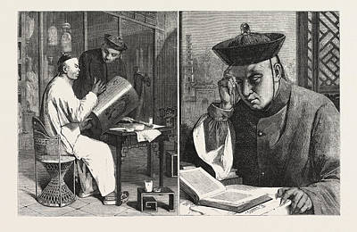 The Lantern Painter Left The Occidentalist Right Poster by Delamarre, Theodore (1824-1883), French