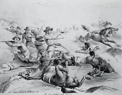 The Last Battle Of General Custer, 25th June 1876, C.1882 Litho B&w Photo Poster