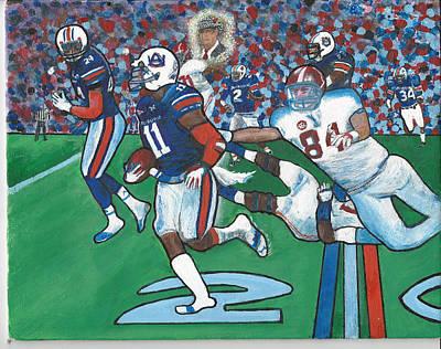 The Last Grasp Alabama Auburn Iron Bowl 2013 Add Nostalgia  Poster by Ricardo Of Charleston