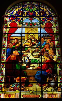 Poster featuring the photograph The Last Supper In Stained Glass by John S