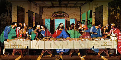 The Last Supper By Leonardo Da Vinci Recreated In Recycled Vintage License Plates Poster by Design Turnpike