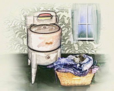 Poster featuring the digital art The Laundry Room by Mary Almond