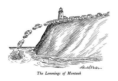 The Lemmings Of Montauk Poster by J.B. Handelsman