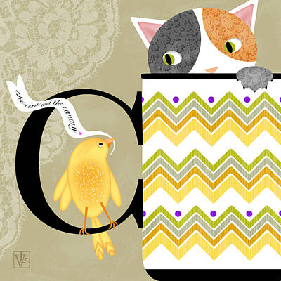 The Letter C For Cat And Canary Poster by Valerie Drake Lesiak