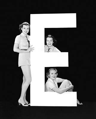 The Letter e And Three Women Poster