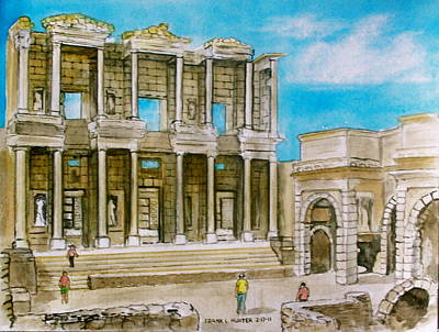 The Library At Ephesus Turkey Poster by Frank Hunter
