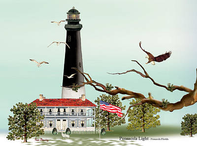 The Light House At Pensacola Poster by Anne Beverley-Stamps