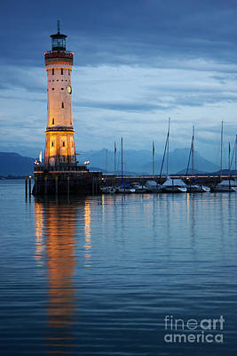 Poster featuring the photograph The Lighthouse Of Lindau By Night by Nick  Biemans