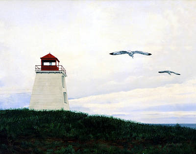 Poster featuring the painting The Lighthouse by Ron Haist