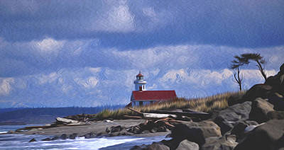 Poster featuring the digital art The Lighthouse With The Red Roof. by Timothy Hack
