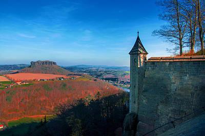 The Lilienstein Behind The Fortress Koenigstein Poster
