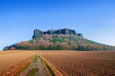 The Lilienstein On An Autumn Morning Poster