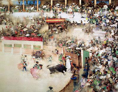 The Little Bull Fight Bravo Toro Seville Poster by Arthur Melville