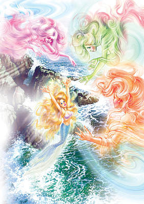 The Little Mermaid And Wind Daughters Poster by Zorina Baldescu