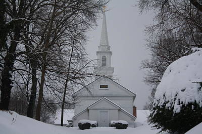 Poster featuring the photograph The Little White Church by Dora Sofia Caputo Photographic Art and Design