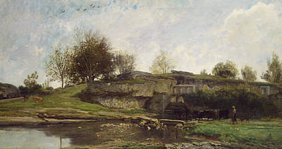 The Lock At Optevoz Poster by Charles Francois Daubigny