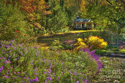 The Log Cabin Flower Beds Brevard Nc Poster by Reid Callaway