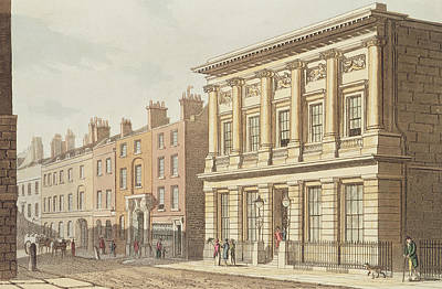 The London Commercial Sale Rooms, From R.ackermanns Repository Of Arts 1813 Colour Litho Poster